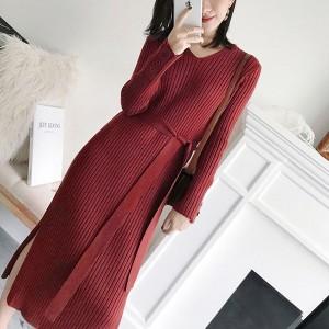 Ribbed V Neck Full Sleeves Midi Dress - Red