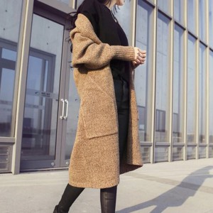 Full Sleeved Bat Style Duo Pocket Knee Length Winter Sweater Coat - Khaki