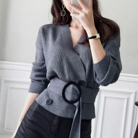 Waist Belt Sexy Wear Winter Ribbed Fashion Women Top - Gray