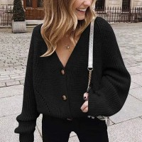 Ribbed Button Up Loose Women Fashion Winter Top - Black