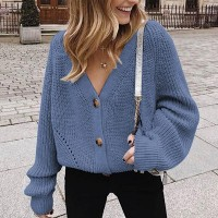 Ribbed Button Up Loose Women Fashion Winter Top - Blue
