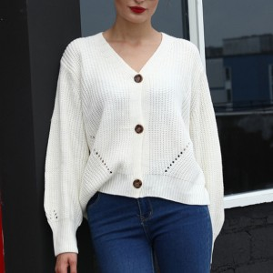Ribbed Button Up Loose Women Fashion Winter Top - White