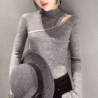 Stand Neck Crop Shoulder Mesh Pattern Winter Body Fitted Tops - Gray