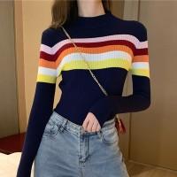 High Neck Striped Contrast Slim Wear Winter Ribbed Tops - Dark Blue