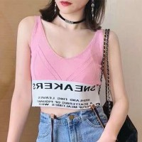 V Neck Body Fitted Strap Shoulder Elastic Waist Casual Tops - Pink