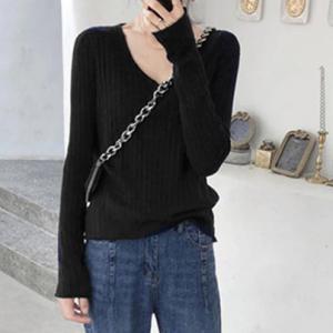 V Neck Ribbed Lining Winter Wear Casual Tops - Black