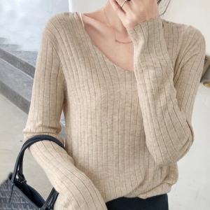 V Neck Ribbed Lining Winter Wear Casual Tops - Apricot