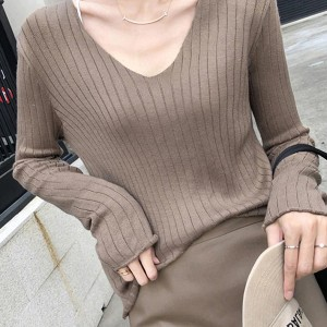 V Neck Ribbed Lining Winter Wear Casual Tops - Coffee