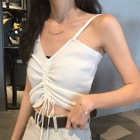 Drawstring Ribbed Sexy Wear Crop Top - White