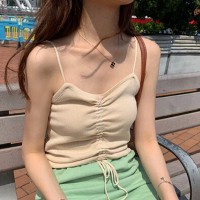 Drawstring Ribbed Sexy Wear Crop Top - Apricot