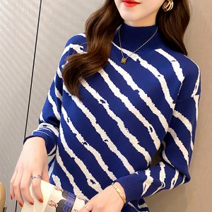 Stand Neck Ribbed Full Sleeves Printed Winter Top - Blue