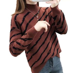 Stand Neck Ribbed Full Sleeves Printed Winter Top - Coffee