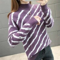Stand Neck Ribbed Full Sleeves Printed Winter Top - Purple
