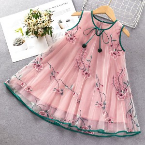 Round Neck A-Line Floral Thread Art Girls Sleeveless Dress - Pink