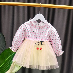 Printed Stand Neck Frilled Casual Wear A-Line Frock Dress - Pink