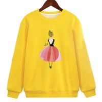 Printed Round Neck Winter Wear Girls Jumper Top - Yellow