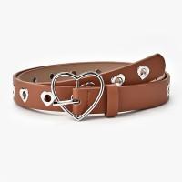 Ladies Heart Buckle Hollow Fashion Belt - Light Brown