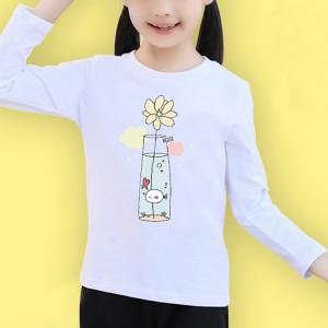 Round Neck Full Sleeves Cartoon Prints Girls T-Shirt - White