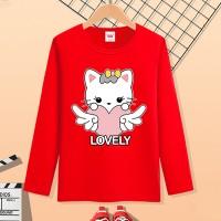 Round Neck Full Sleeves Cartoon Prints Girls T-Shirt - Red