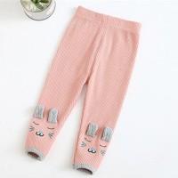 Ribbed Waist Elastic Narrow Bottom Kids Bottom Trouser - Pink