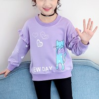 Cat Prints Round Neck Loose Winter Wear Kids Top - Purple