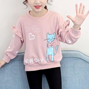 Cat Prints Round Neck Loose Winter Wear Kids Top - Pink