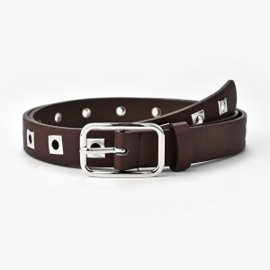 Ladies Fashion Personality Solid Color Belt - Coffee