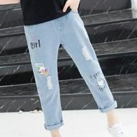 Straight Bottom Kids Girl Wear Denim Jeans Pant - Blue