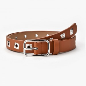 Ladies Fashion Personality Solid Color Belt - Light Brown