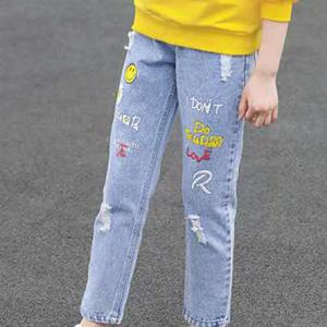 Denim Ribbed Kids Fashion Girls Wear Cute Jeans Pant - Blue
