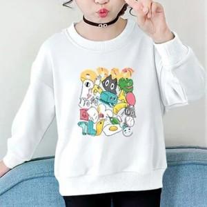 Cartoon Prints Round Neck Kids Wear Top - White