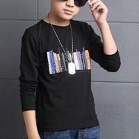 Round Neck Children Fashion Wear Boys T-Shirt - Black