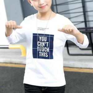 Alphabetic Prints Round Neck Cute Boys Casual T-Shirt