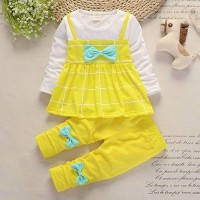 Round Neck Square Prints Girls Wear Two Piece Matching Suit - Yellow