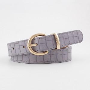 Girls Crocodile Pattern Gold Buckle Belt - Light Purple