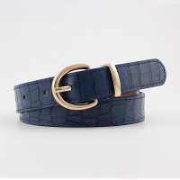 Girls Crocodile Pattern Gold Buckle Belt - Blue