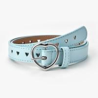 Girls Simple Heart Hole Hollow Decorative Belt - Sky Blue