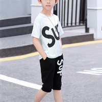 Alphabetic Prints Round Neck Two Piece Kids Matching Sets - Black and White