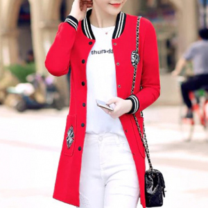Button Up Full Sleeves Winter Wear Long Jacket Top - Red