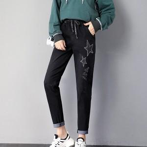 Thread Star Art Narrow Bottom Denim Trouser Pant - Black