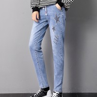 Thread Star Art Narrow Bottom Denim Trousers Pant - Blue
