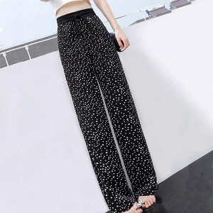 Elastic Waist Bell Bottom Full Length Casual Trousers - Black