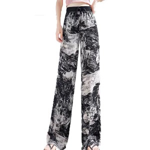 Elastic Waist Bell Bottom Printed Full Length Casual Trousers - Black and White