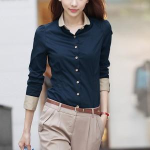 Button Up Full Sleeves Casual Wear Women Shirt - Dark Blue