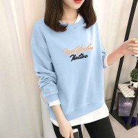 Cartoon Printed Round Neck Full Sleeved Top - Light Blue