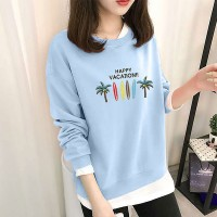 Cartoon Printed Round Neck Full Sleeved Top - Sky Blue