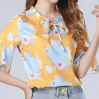 Floral Printed Ruffled Elegant Wear Women Blouse Top - Yellow