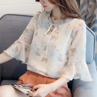 Floral Printed Ruffled Elegant Wear Women Blouse Top - White