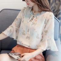 Floral Printed Ruffled Elegant Wear Women Blouse Top - White
