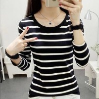 Round Neck Stripes Print Long Sleeves Top - Black